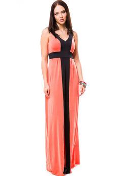 Длинное летнее платье с глубоким декольте и разрезом впереди Mondigo